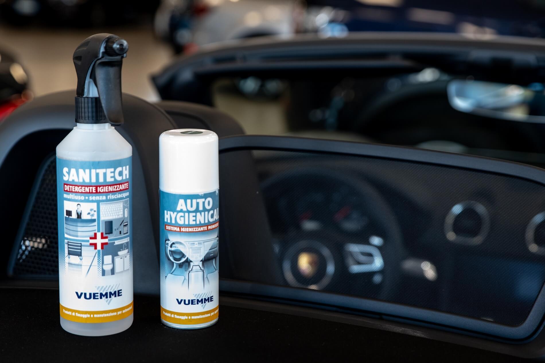 Spray pulizia antivirale auto